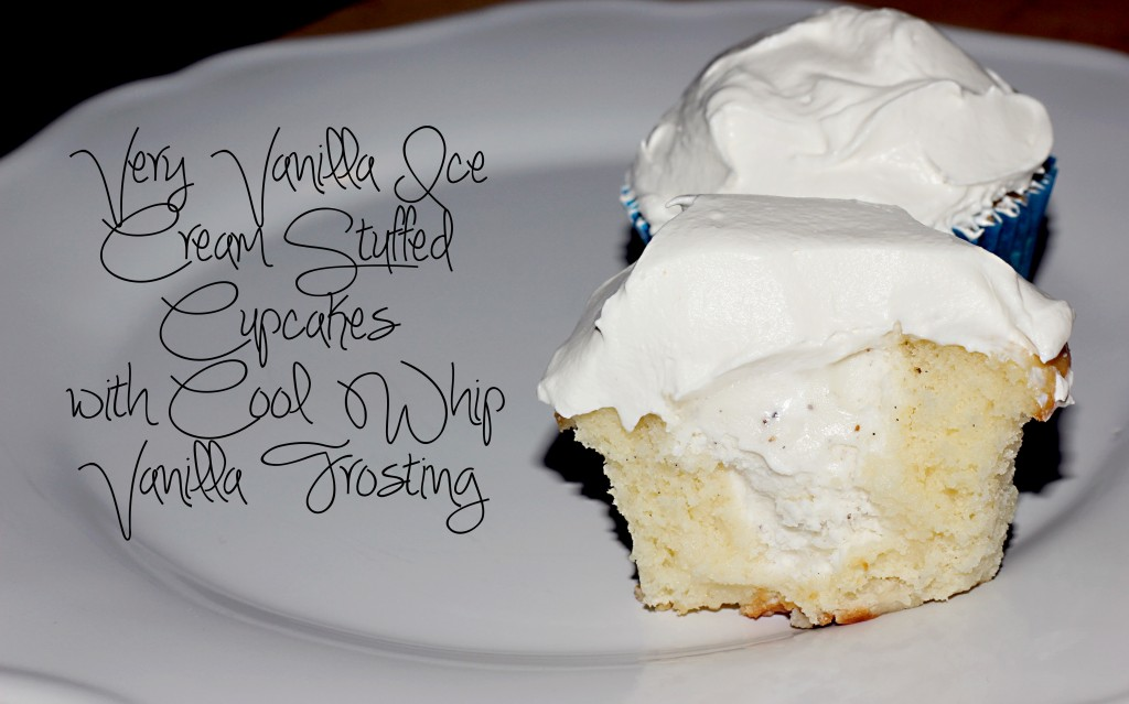 Very Vanilla Ice Cream Stuffed Cupcakes with Cool Whip Frosting ...